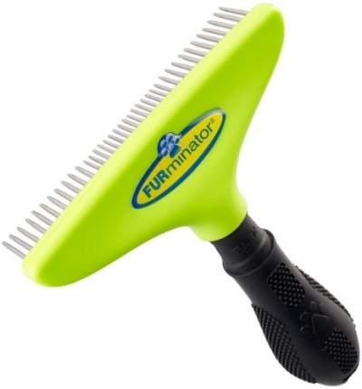 Гребень для кошек и собак FURminator® пластик, нержавеющая сталь, цвет черный, зеленый