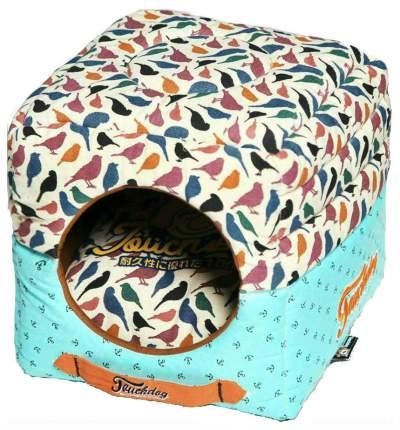 Домик для кошек Katsu Птички S бирюзовый, белый