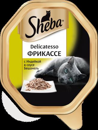 """Консервы для кошек Sheba Delicatesso фрикассе с индейкой в соусе """"Бешамель"""", 85г"""