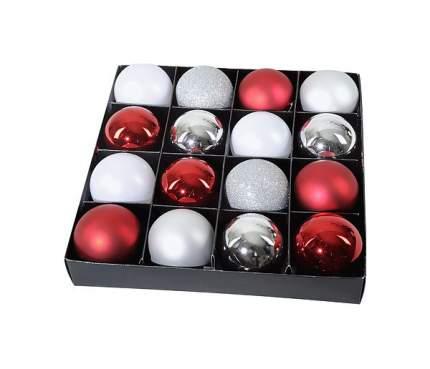 Набор пластиковых шаров Альпийский Шик Kaemingk 023609 Белый; серебристый; красный