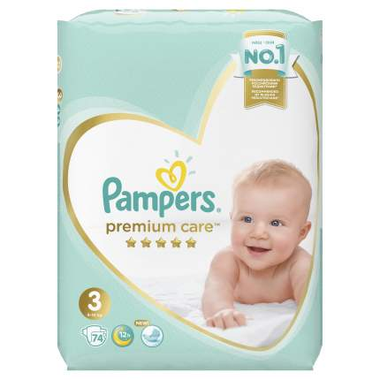 Подгузники Pampers Premium Care 3 (6-10 кг), 74 шт.