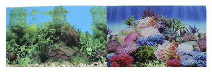 Фон для аквариума Prime Коралловый рай/Подводный пейзаж, винил, 150x60 см