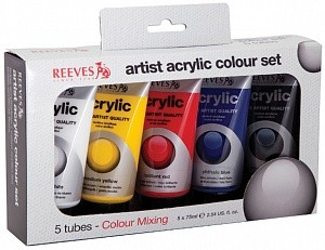 Акриловые краски Reeves Acrylic colour 5 цветов