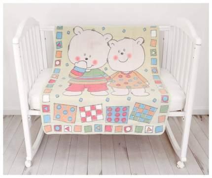 Одеяло детское ОТК байковое Два медведя 100х140 см цвет желтый, УТ0009802
