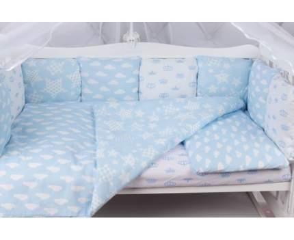 Бортик в кроватку 12 предметов (12 подушек-бортиков) AmaroBaby ВОЗДУШНЫЙ (голубой,бязь)