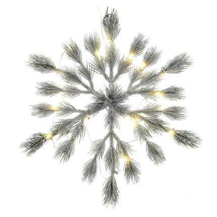 Kaemingk Хвойная Снежинка с лампочками Аврора 39 см заснеженная с блестками
