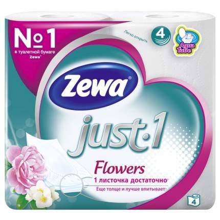 Туалетная бумага Zewa Just1 Цветы 4-х слойная