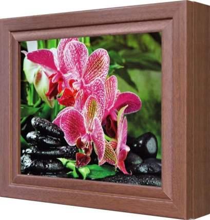 """Ключница """"Ветка розовой орхидеи"""" Орех"""