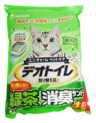 Впитывающий наполнитель для кошек UNICHARM бумажный, зеленый чай, 1 кг, 2 л