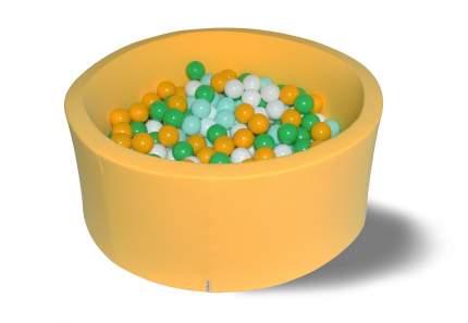 Сухой игровой бассейн Солнечная поляна желтый 40см с 200 шарами: желт, бел, зелен, мятн