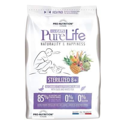 Сухой корм для кошек Flatazor Pure Life Sterilized 8+, для пожилых, утка, рыба, 2кг