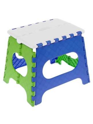 Табурет Трикап складной пластиковый средний, белый/голубой/салатовый