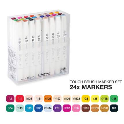 Набор двухсторонних спиртовых маркеров Brush Touch Twin 24шт