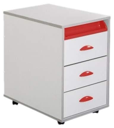 Тумбы выкатная на 3 ящика + выдвижной пластиковый пенал ТУВ-02W белый, красный