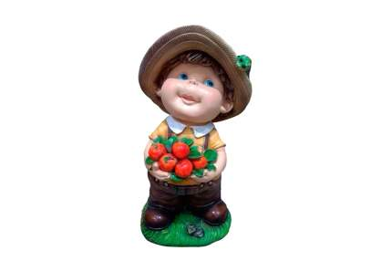 Фигура садовая декоративная Мальчик с яблоками L24W21H46 см.