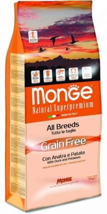 Сухой корм для собак Monge Grain free, беззерновой, утка, картофель, 12кг