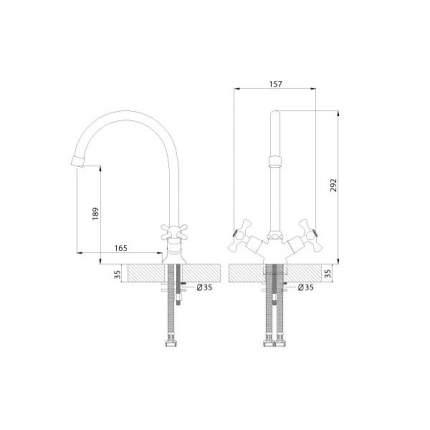 Смеситель для кухонной мойки Rossinka Silvermix H02-72 хром