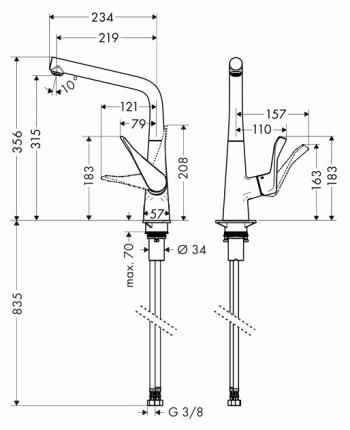 Смеситель для кухонной мойки Hansgrohe Metris 14822800 хром