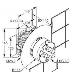 Смеситель для встраиваемой системы Kludi 88011