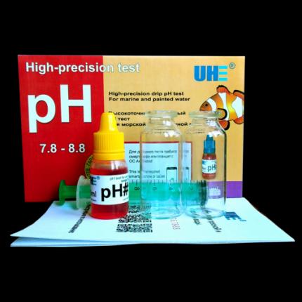 Тест на определение уровня pH в соленой аквариумной воде и водоемах UHE pH 7,6-8,6 test