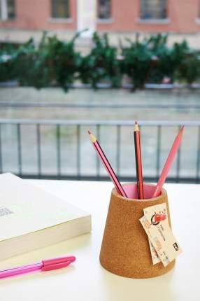 Стакан для ручек пробковый розовый