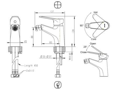 Смеситель для биде BRAVAT F3111147C