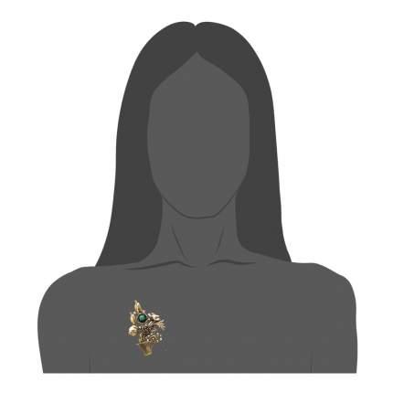 Брошь Maurizio Mori, букет с цветами, изумрудом, богатая жемчугом и кристаллами