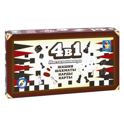Настольная игра 1Toy 4 в 1 Шашки, шахматы, нарды, карты магнитные Т52451