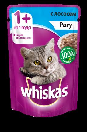 Влажный корм для кошек Whiskas рагус лососем, 85г