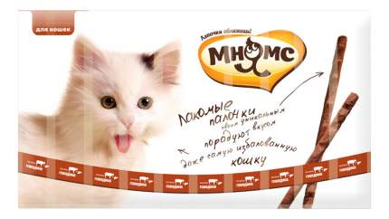 Лакомство для кошек МНЯМС, Лакомые палочки с говядиной и печенью, 13,5 см, 10 шт по 5 г