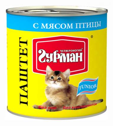 Консервы для котят Четвероногий Гурман Паштет, домашняя птица, 12шт, 240г