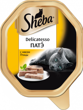 Консервы для кошек Sheba Delicatesso патэ с мясом птицы, 85г х 11шт
