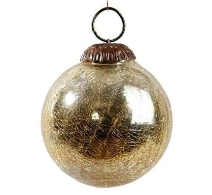 Винтажный шар Kaemingk 100 мм золотой состаренный, стекло 190052