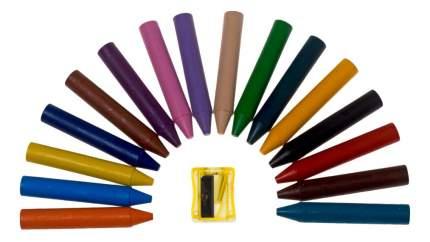 Мелки восковые Jovi круглые, 16 цветов с точилкой в стакане