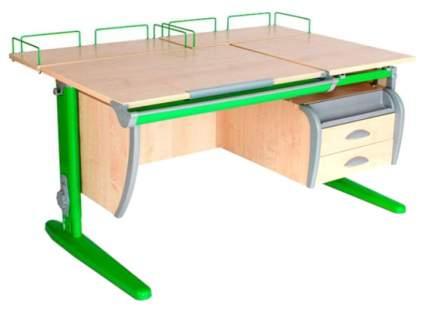 Парта Дэми СУТ-17-04 с подвесной тумбой и двумя задними приставками Клен Зеленый 120х80 см