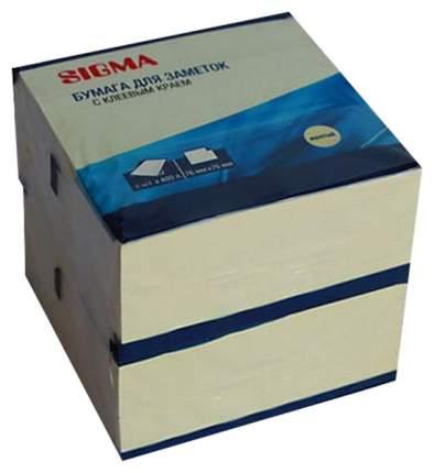 Блок Sigma бумага для заметок с клеевым краем желтая 76х76мм 400л*2шт