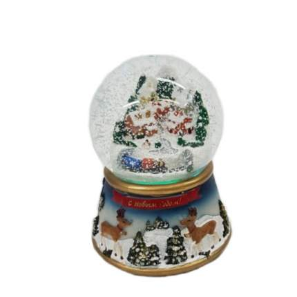 Новогодний водяной шар 100мм, со снегом, светом, музыкой, 11.5*11.5*15см, на батарейках