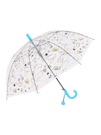 Зонт-трость МихиМихи Небесный Единорог прозрачный купол, голубой