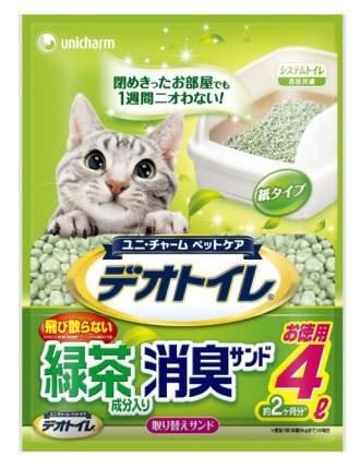 Впитывающий наполнитель для кошек UNICHARM бумажный, зеленый чай, 3 кг, 4 л