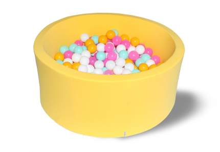 Сухой игровой бассейн Лимонная жвачка желтый 40см с 200 шарами: желт, бел, роз, мятн