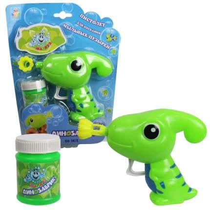 1 TOY Мыльные пузыри Мы-шарики! Пистолет в виде динозаврика, зеленый, 50 мл Т15027