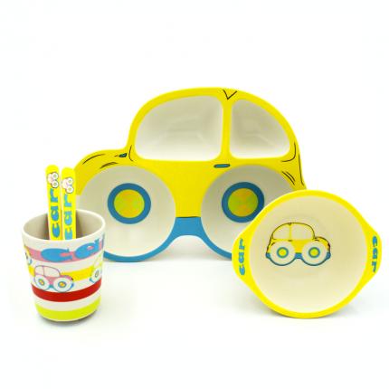Набор детской бамбуковой посуды Sonvic Машина желтая
