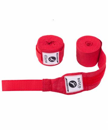 Бинт боксерский Rusco Sport, 3,5 м, хлопок, красный