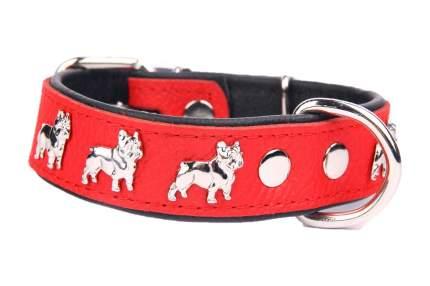 """Ошейник для собак ZOOLESZCZ """"French Bulldog"""", красно-черный, обхват шеи 60 см"""