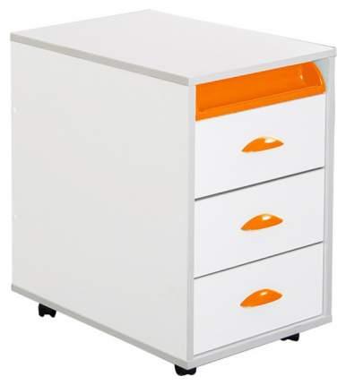 Тумбы выкатная на 3 ящика + выдвижной пластиковый пенал ТУВ-02W белый, оранжевый