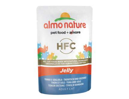 Влажный корм для кошек Almo Nature HFC Jelly, рыба, тунец, 24шт, 55г