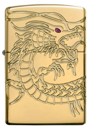 Бензиновая зажигалка Zippo Armor Multicut Dragon High Polish Gold Plate