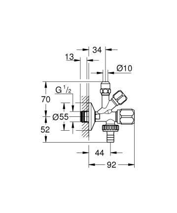 """Комбинированный угловой вентиль GROHE (22036000) с уплотнительным кольцом 1/2"""""""