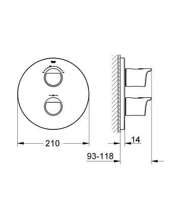 Смеситель для встраиваемой системы Grohe Grohtherm 2000 19355001 серебристый