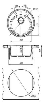 Мойка для кухни из мрамора Florentina Лотос 510 антрацит